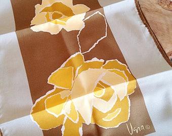 Vintage Vera Neumann Long Yellow Floral Scarf Mid Century