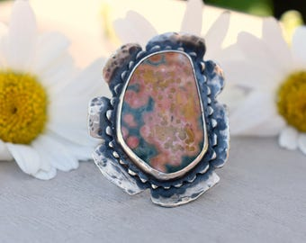 Meadow Flower - Ocean Jasper Sterling Silver Floral Ring - US Size 9 1/2