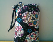 Sugar Skulls Padded Pouch, Drawstring, Sunglasses Bag, Handmade