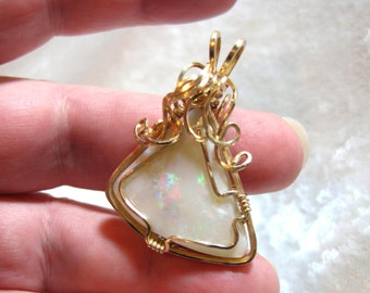 Large Australian Opal Pendant, Rainbow Opal Pendant 14 Kt. Gold-filled (14/20) Sq. Wire Wrapped