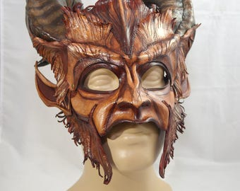 RESERVED for Eric -- Made To Order -- Beast Inspired Leather Satyr Krampus Cosplay Fantasy Mask