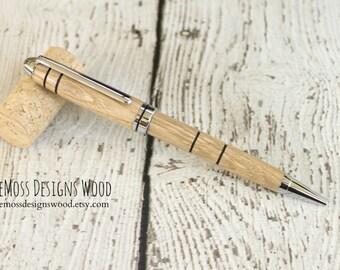 Chestnut Wood Pen, Wood Turned, Euro Style, Black Ink, Chrome Finish