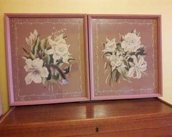 """Pair of large Turner Floral Prints - Signed - 1940's - 17""""X19"""" - Prints VG - Frames Good"""