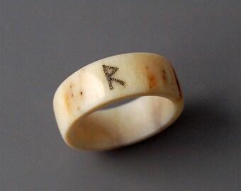 Antler ring, Size 7,75 US, Raido rune, Antler jewelry, Rune Raido, Viking ring, Rune ring, Nordic ring, Norse ring, Norse jewelry, Runic