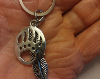 Large Feather and Bear Claw Key Ring