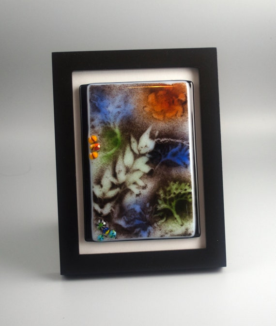 Nature's Beauty Fused Glass Framed Original One-of-a-Kind Art