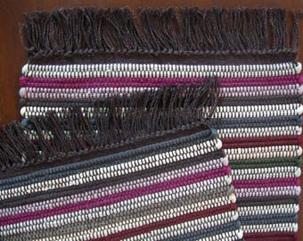 "Cream, Brown, Mauve, and Maroon Rag Rug Style Table Runner, 12"" x 40"", Handwoven in Nicaragua"