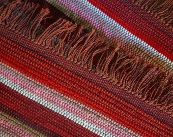 Rag Rug Handwoven in Nicaragua in Shades of Red, Sage, and Pink