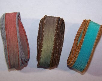 3 Pack Special Sale/Silk Ribbons/Hand Dyed/Wrist Wraps/Sassy Silks/Ready to Ship/ See Description for Details/101-0721