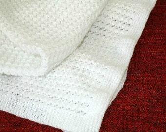 Christening blanket, Hand knit baby blanket, White Baptism blanket, Heirloom baby blanket, New Baby Gift, Baptism Gift, White Pram Blanket