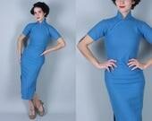 1940s Spring Sky cheongsam dress | vintage 40s 50s blue wool wiggle dress with yellow flecked windowpane | extra small