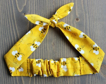Bumble Bee Knotted Hair Tie, Rosie Wrap, Headband, Bandana, Hair Scarf, Baby, Toddler, Child, Photo Prop, Rockabilly, Yellow, Bees