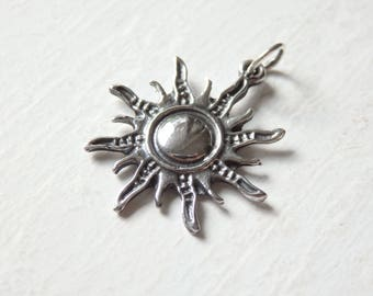 Silver sun etsy sterling silver sun pendant one 925 silver sun pendant 23x25mm thai silver sun mozeypictures Image collections