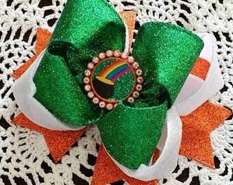 Iris Flag Bow..Irish Glitter Bow....St Patrick's Day Bow...St Patty's Day Bow...Irish Hair Bow...Glitter Hair bow