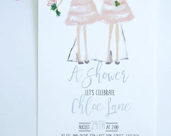 BRIDAL SHOWER INVITATIONS  - Bridesmaids with the Bride