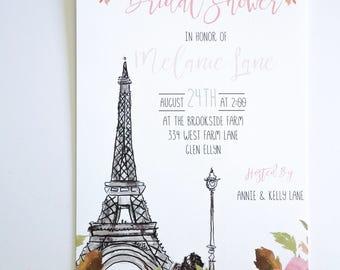 BRIDAL SHOWER INVITATIONS  - Paris Themed Bridal Shower