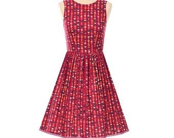 Vintage Burgundy Abacus Print Handmade 1950's Style Francis Sleevelss Dress