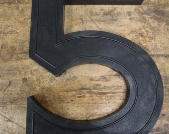 """Vintage Plastic 17"""" Slotted Drive-In Theater Sign Black Letter Number """"5"""""""