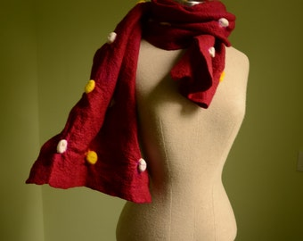 Red Polka Dot Wet Felted Merino wool Scarf