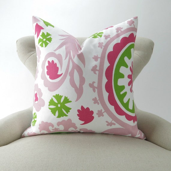 Floor Pillow Covers 25x25 : Items similar to Pink Suzani Floor Pillow Cover -28x28 inch- Hot Pink Lime Green White, Girls ...