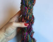 Recycled Silk Sari Yarn - Art Yarn - Hand Spun, Eco-Friendly & Socially Responsible - 1 Skein ~65 yards