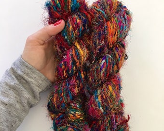 Recycled Silk Sari Yarn - Art Yarn - Hand Spun, Eco-Friendly & Socially Responsible - 2 Skeins ~130 yards
