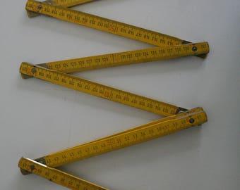 SUMMER SALE 30% OFF!!  Vintage. Yellow. Wooden folding ruler. Measuring tape. Collapsing ruler. Meter stick