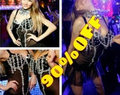 SALE Black Lollita silver detailing lace sheer tutu sexy dress with bolero for dance stage performance by Maria Luck