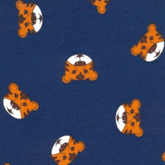 High Quality Tiger Heads on Navy Printed Cotton