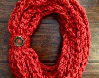 Crochet Orange Rope Scarf