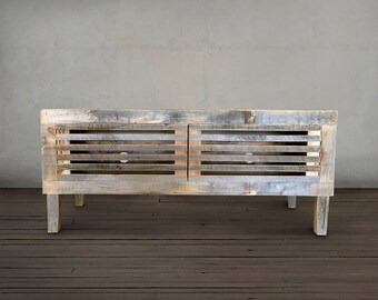 Reclaimed Wood Television Stand, Media Console With Wood Slats