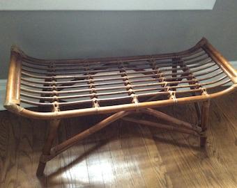 Mid century Rattan Bench