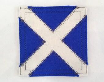 Nautical signal flag letter M wool felt coaster