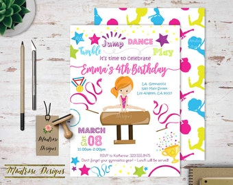 Gymnastics Birthday Party Invitation, Tumble, Jump, Dance, Play! Blonde, Redhead, Brunette, African-American, Hispanic Girls G2 DIGITAL FILE