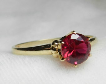 Ruby Ring Engagement Ring Vintage Ruby Art Deco Filigree 1.65 Ct Lab Ruby Ring Yellow Gold Ring July Birthday Gift for Women