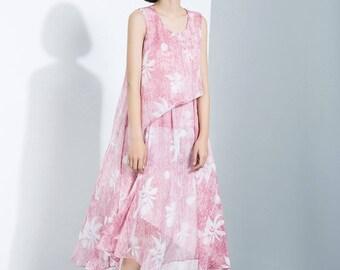 pink chiffon dress, flower sleeveless dress,  chiffon tunk, tiered dress, layered chiffon dress, date dress,  long chiffon dress C1116