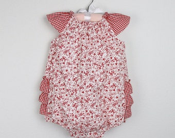 Baby Girl Romper - Red and white Ruffle romper