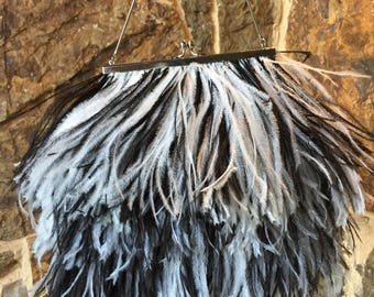 Vintage Black and White Ostrich Feather purse