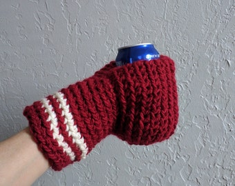 Beer Mitten . Beer Glove . Valentines Gift . Maroon and Winter White . Beer Gift . Tailgating . Ice Fishing . School Colors . Team Colors