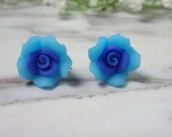 Blue Frangipani Flower Soft Ceramic Clay Stud Earrings 0204