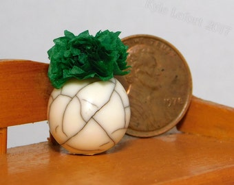 One Inch Scale Dollhouse Miniature Leafy Green Plant in Faux Cracked Marble Planter -  Mini Indoor Garden and Home Decor