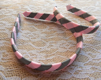 Pink and Gray Ballet Matching woven headband for American Girl Doll and girl Dolly and Me headband set