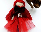 "Lady in Red, 16"" Doll, Art Doll, Handmade Doll, Cloth Art Doll, Red Room Decor, Unique Art Doll"
