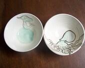 Leslie's custom order for octopus and mermaid bowl set