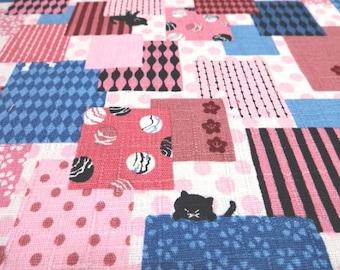 Japanese Traditional Fabric KOKKA Cat Pink Fat Quarter