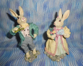 Two Resin Bunny Rabbits-Mr. and Mrs. Rabbits