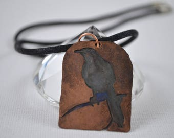 Copper Pendant, Bird Necklace, Copper Bird Necklace, Pendant Bead, Copper Necklace, Etched Pendant, Etched Copper, Hammered Copper,