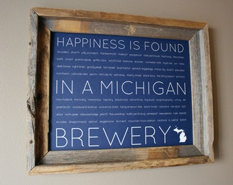 Happiness Is Found In A Michigan Brewery Word Art Print (Blue) - Unframed