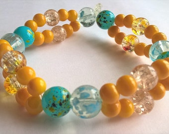 """8"""" Two Strand Stretchy Bracelet or Anklet: Yellow, Turquoise Blue, Light Blue Glass Beads"""