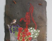 HANDPAINTED WELCOME SLATE Vintage Memories Slate  Red Water Pump with  Watercan, Flowers and a Chickadee